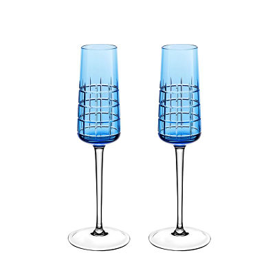 Wedding Gifts in Dubai-Christofle blue crystal glasses