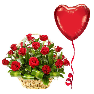 Roses of Love & Heart Balloon