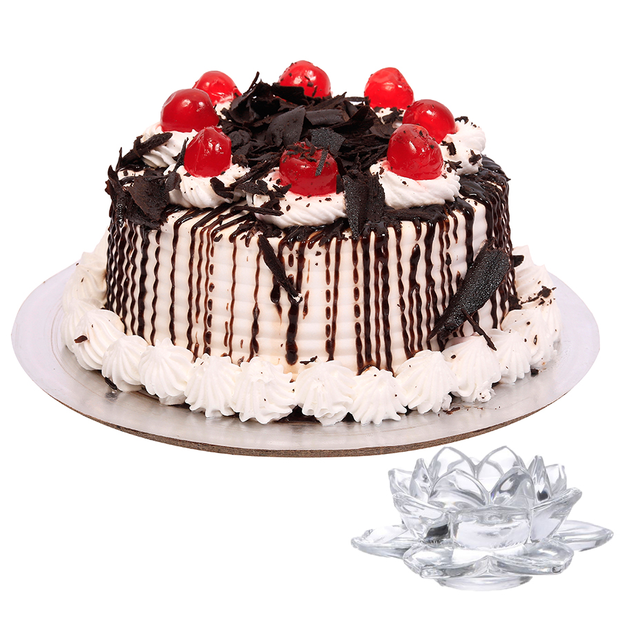 Birthday Gifts – Dubai and all over UAE-Black Forest Cake & Lotus Candle Holder