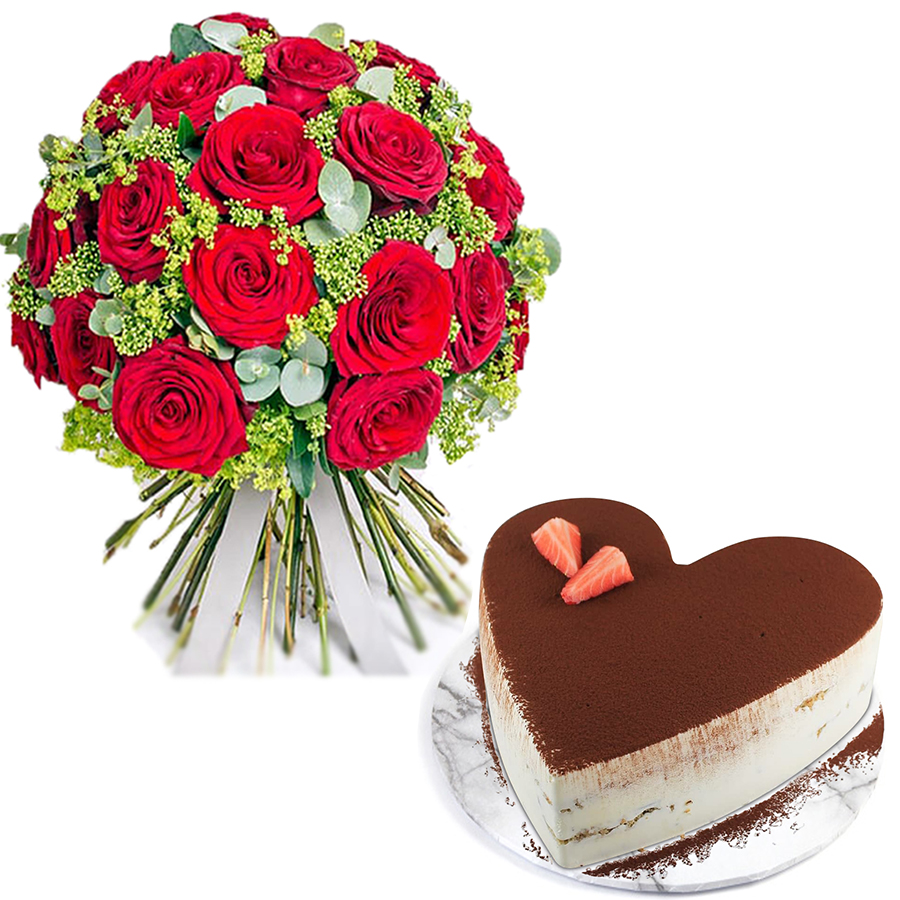 Flower Gifts - Online Flower Delivery Sharjah-Heart Tiramisu & Charming Roses