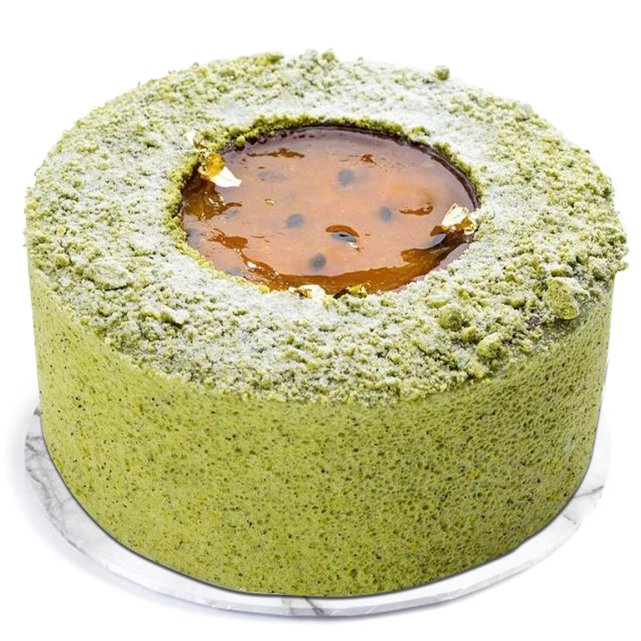 Green Matcha tea Passion fruits & Mango cake