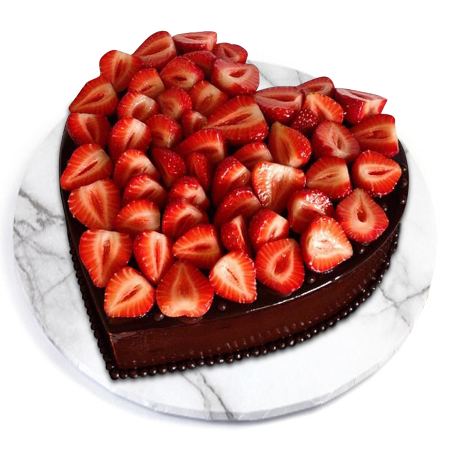 Strawberry Heart Classic Chocolate Cake