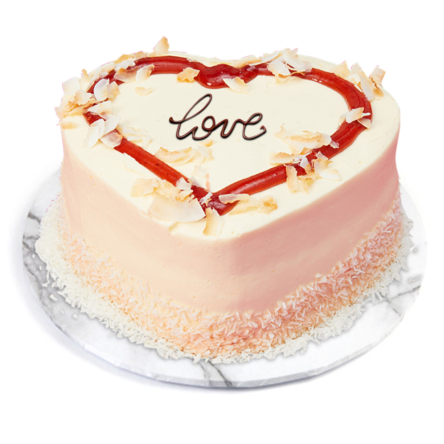 Heart Coconut Strawberry cake