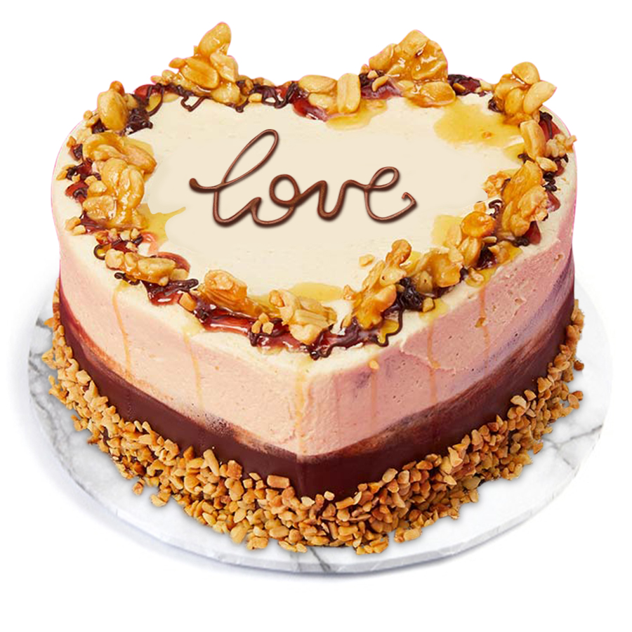 Heart Chocolate & Peanuts Cake