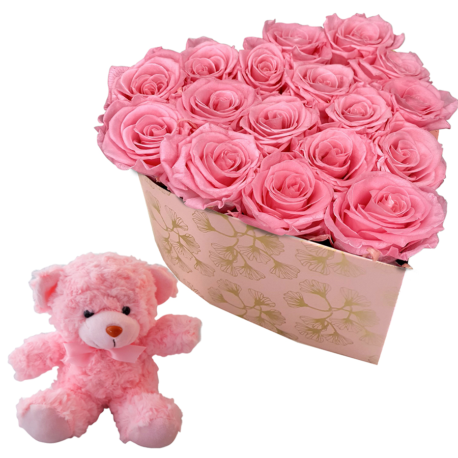Pink Flowers & Teddy Bear