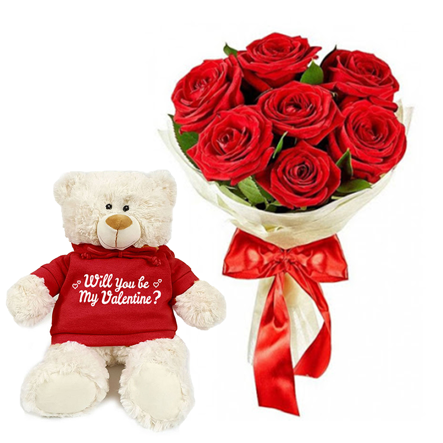 Be My Valentine Bear & Roses