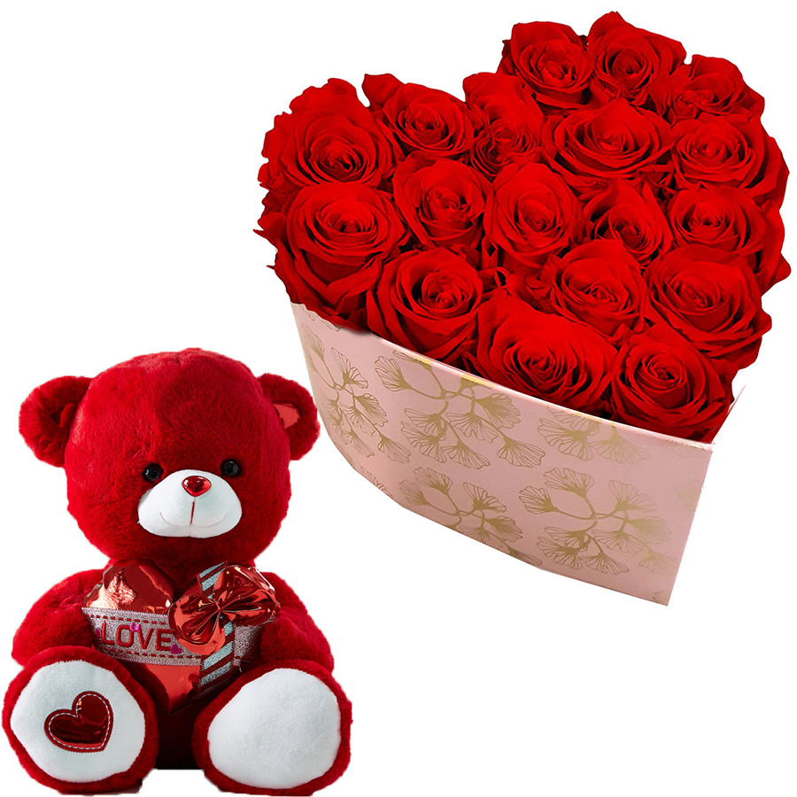 Flower Gifts - Online Flower Delivery Abu Dhabi-Red Bear & Red Roses