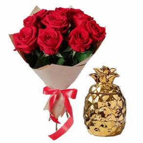 Wedding Gifts in Dubai-Red Roses & Pineapple Candle