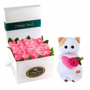 Wedding Gifts in Dubai-Pink Angels Roses & Loving Cat