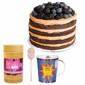 Valentines Day Gifts Online-Chocolate Berry Delight Cake & Tea