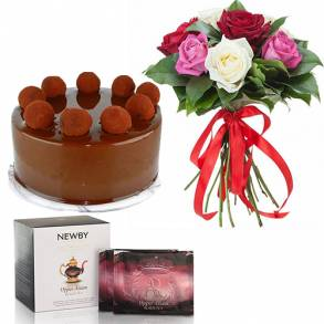 Flower Gifts - Online Flower Delivery Sharjah-Chocolate Truffle Cake Surprise Gift