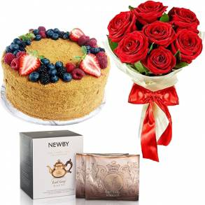 Flower Gifts - Online Flower Delivery Abu Dhabi-Honey Cake Surprise Gift