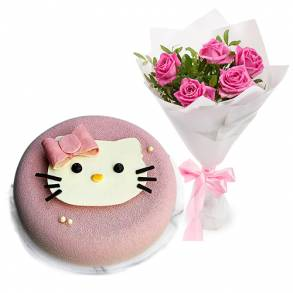 Online Cake and Flower Delivery in Dubai-Strawberry Vanilla Kitty Set