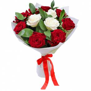 Online Cake and Flower Delivery in Dubai-Red & White Charm Surprise